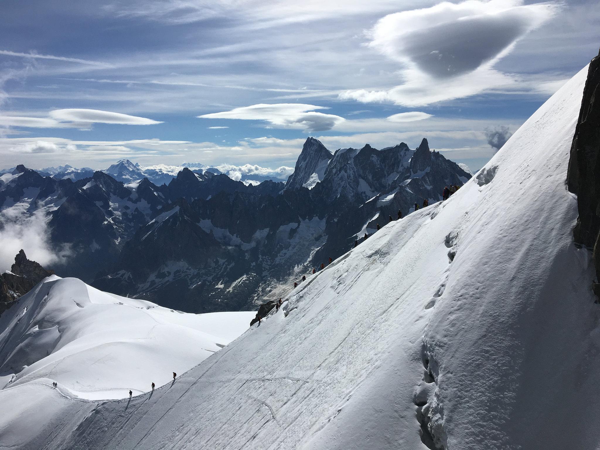mt blanc snow climbers ahead